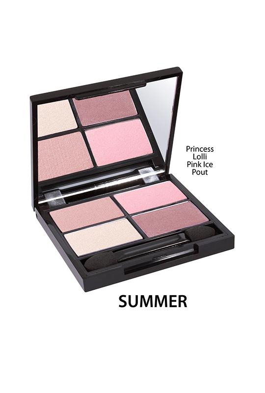 Poczwórna paleta cieni do powiek - Summer [Wrzosowo-różowe]